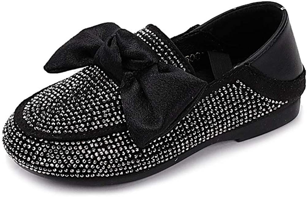 ANYUNIS Girls School Rhinestones Dress Oxford Shoes Bowknot Slip-On Loafer Shoes (Toddler/Little Kid)