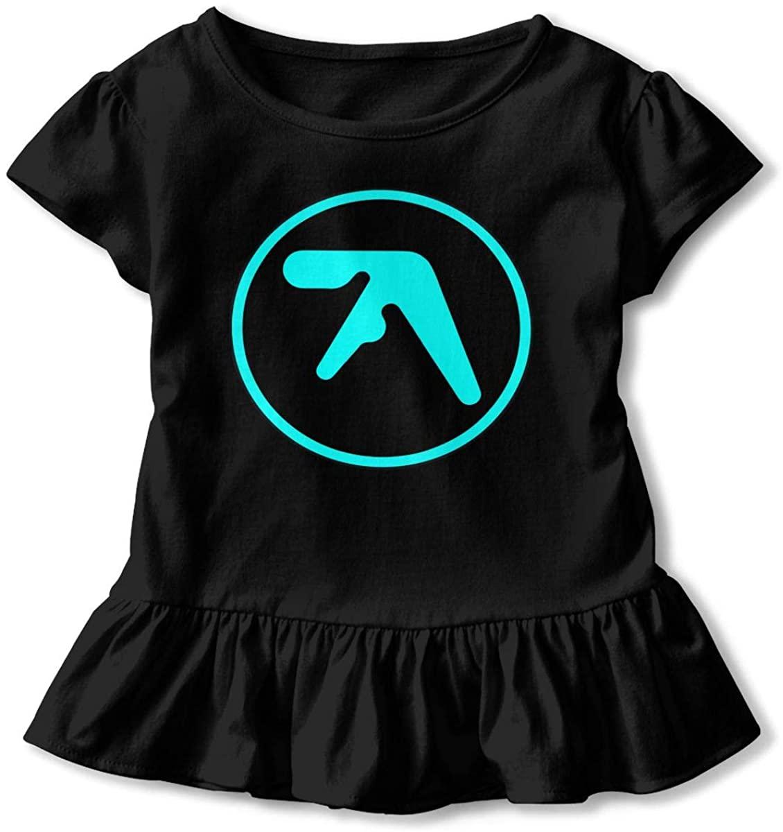 AHUAHUA Kids Aphex Twin Logo Toddler Short Sleeve T Shirt Children Girls Cotton Graphic Tee Soft Dress (2-6T)