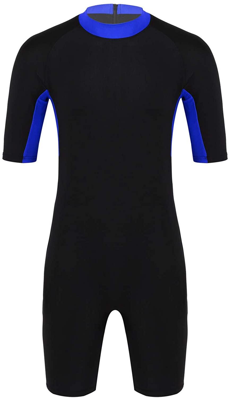 YiZYiF Men's Stretch Spandex Lycra Leotard Short Sleeve Wrestling Singlets Swimsuit Wetsuit