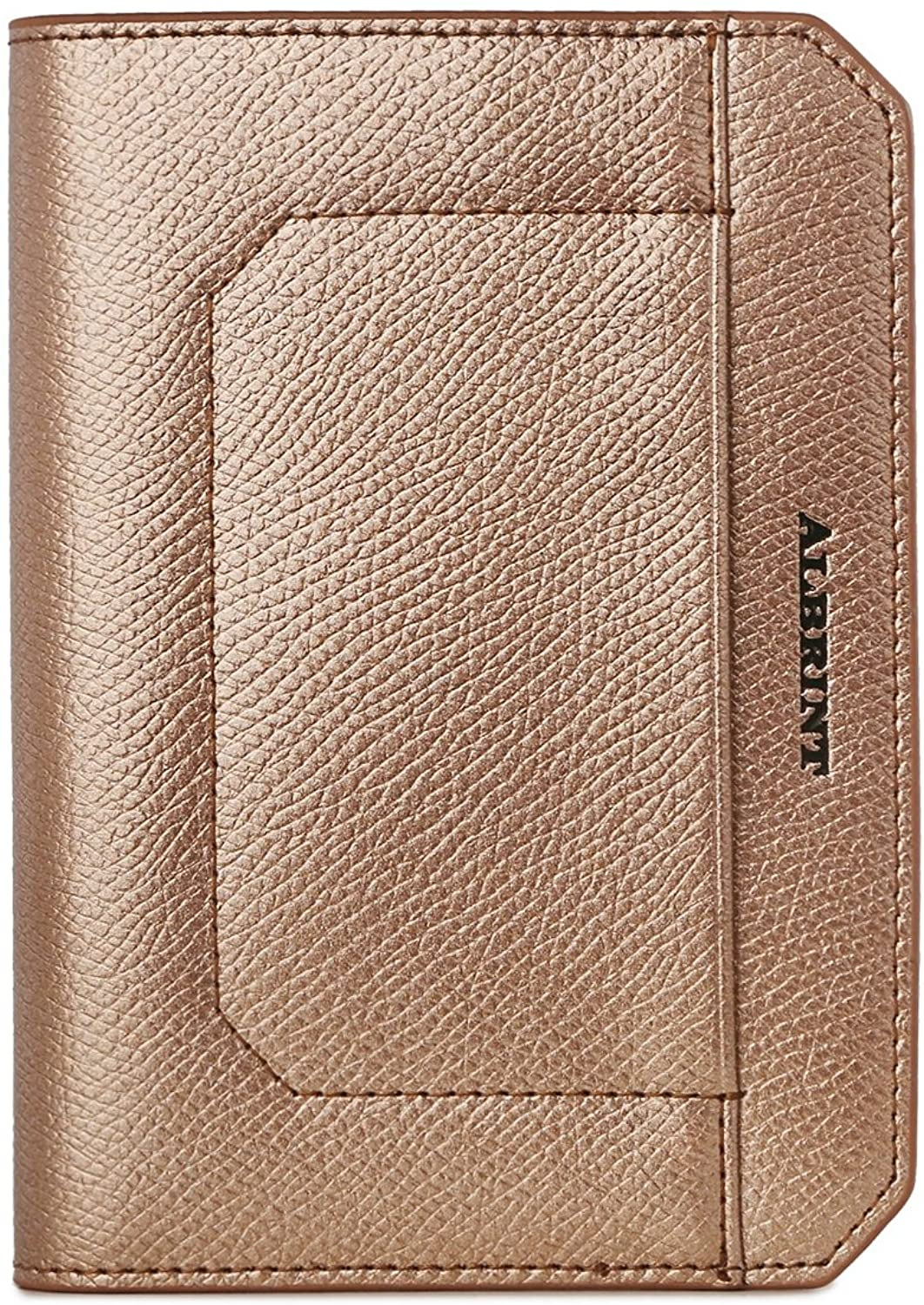 ALBRINT Travel Passport Holder Rfid Blocking Leather Passport Wallet Slim Cover, Rose Gold