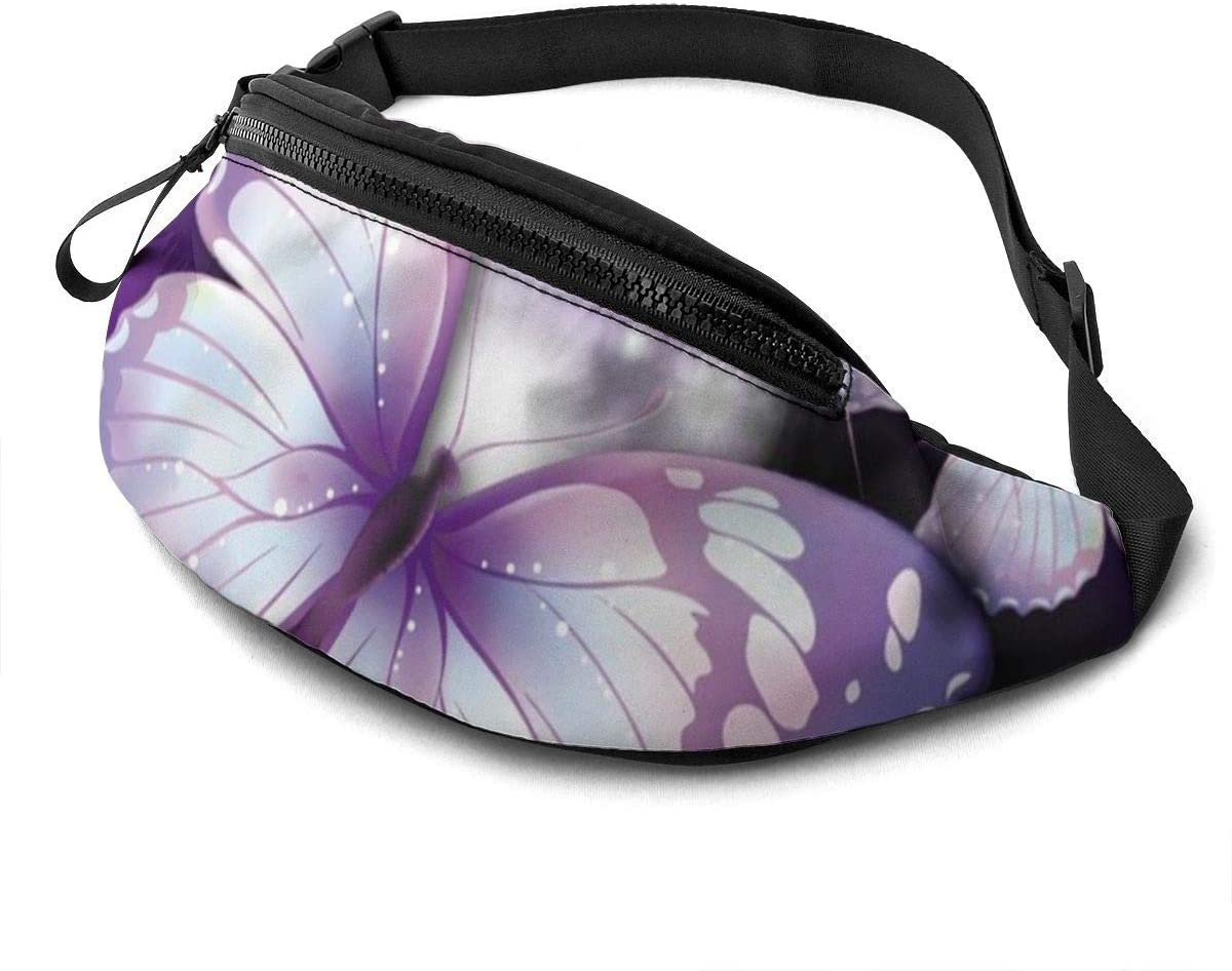 Beautiful Purple Butterfly Fashion Casual Waist Bag Fanny Pack Travel Bum Bags Running Pocket For Men Women