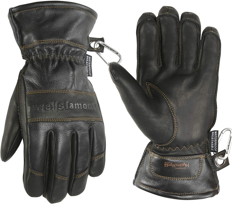 Men's Black HydraHyde Leather Winter Gloves, Waterproof Insert (Wells Lamont 7664XLK)