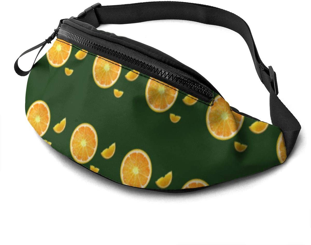 Colorful Orange Pattern Fanny Pack For Men Women Waist Pack Bag With Headphone Jack And Zipper Pockets Adjustable Straps