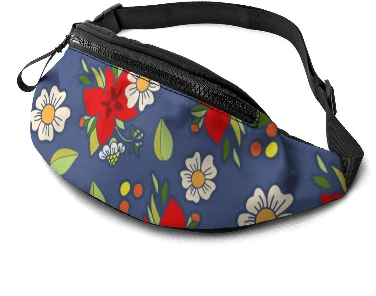 Cute Pattern With White And Red Flowers Fanny Pack For Men Women Waist Pack Bag With Headphone Jack And Zipper Pockets Adjustable Straps