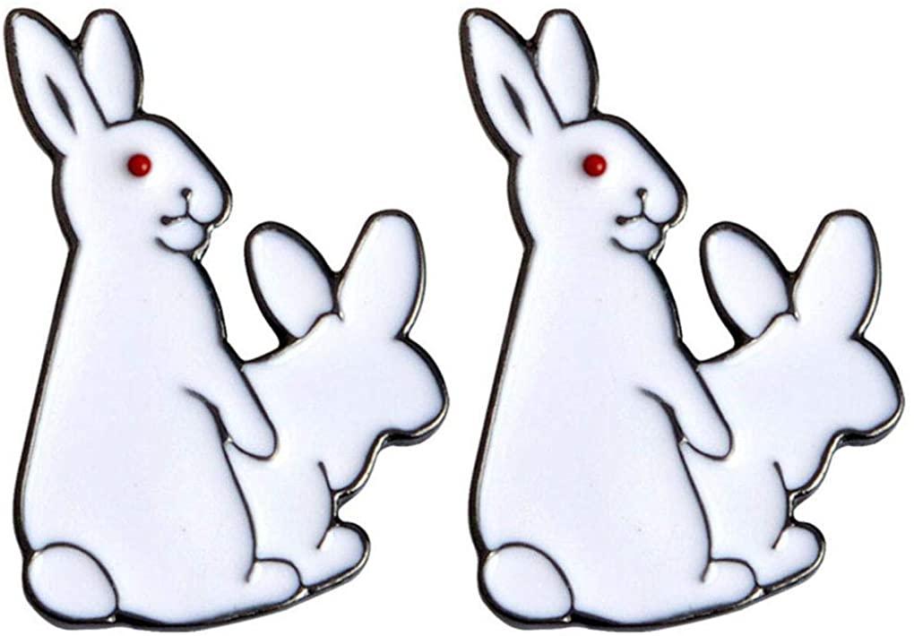 Charmart White Rabbits Lapel Pin 2 Piece Set Evil Bunny Animal Enamel Brooch Pins Denim Jacket Collar Badge Gifts