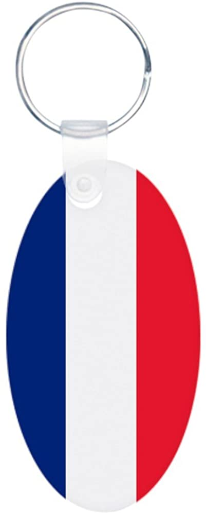 Aluminum Oval Keychain (2-Sided) Flag of France