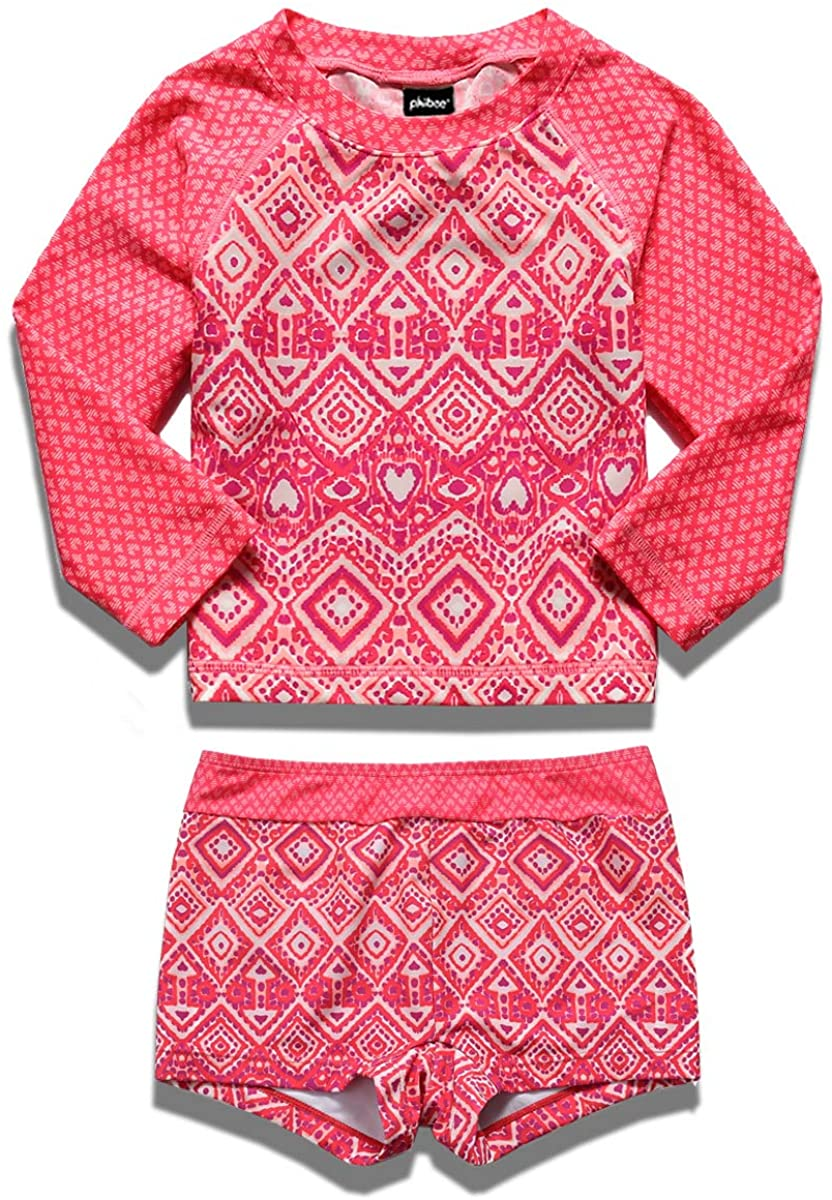 PHIBEE Girls' Rash Guard Set Long Sleeve UPF 50+ Sun Protection Two-Piece Swimwear