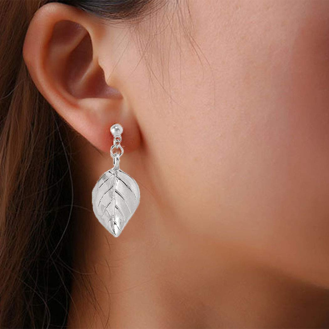 Shegirl Leaf Earrings Silver Stud Earrings Leaf Dangle Earrings Fashion Jewelry for Women and Girls Gifts