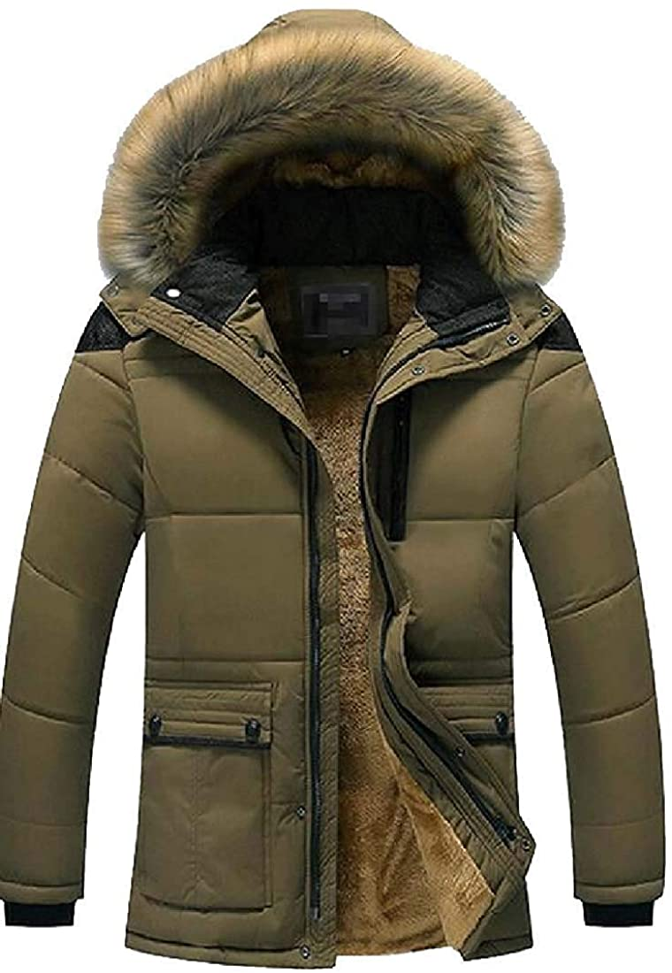 Gsdgjgg Mens Faux-Fur-Hood Solid Winter Thicken Fleece Warm Quilted Jacket Coat Outerwear,1,Small