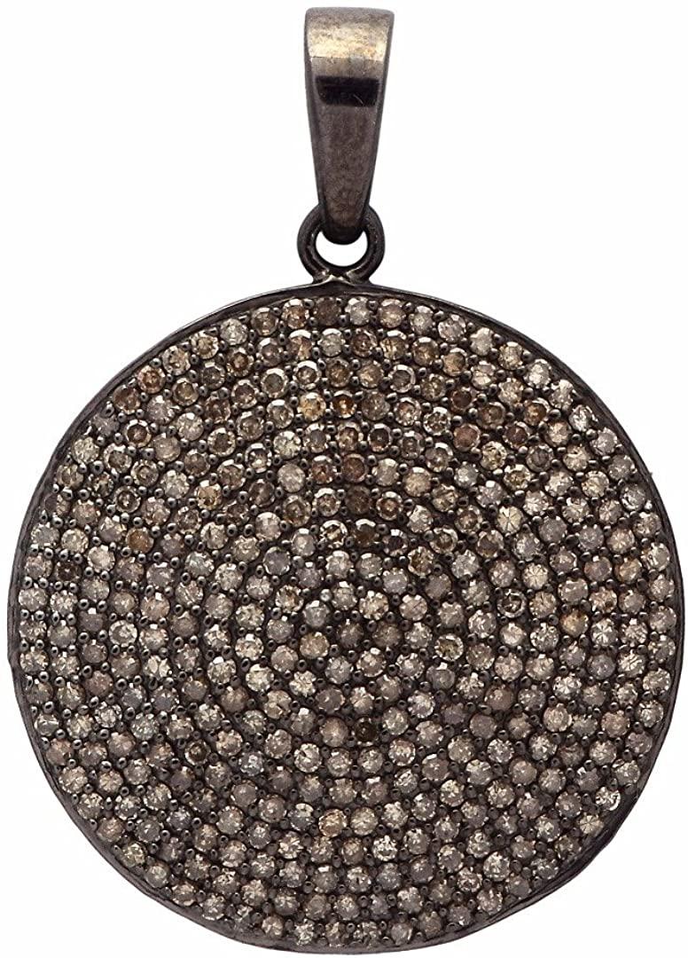 Champagne Diamond 925 Sterling Silver Cluster Statement Circle Wedding Shiny Pendant