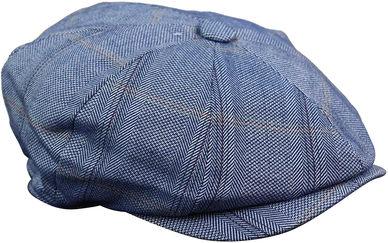 Cavani Mens 8 Panel Button Hat Flat Cap Newsboy Baker Boy Check Hat Tweed Peaky Blinders tan s/m
