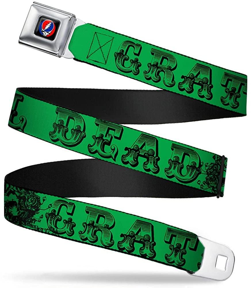 Buckle-Down Seatbelt Belt - Grateful Dead Text w/Skull & Roses Green - 1.0