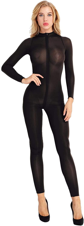 zdhoor Woman Sexy Long Sleeve Sheer See Through Bodystocking One-Piece Teddy Bodysuit