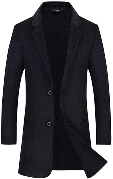 HUAN Mens New Woolen Overcoat Double Sided Plus Size Coat Formal Business Trenchcoats 2018 (Color : Black, Size : 180/XL)