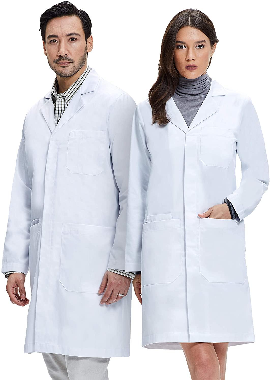 Dr. James Unisex Lab Coat, Classic Fit, 100% Cotton, White, 39 Inch Length