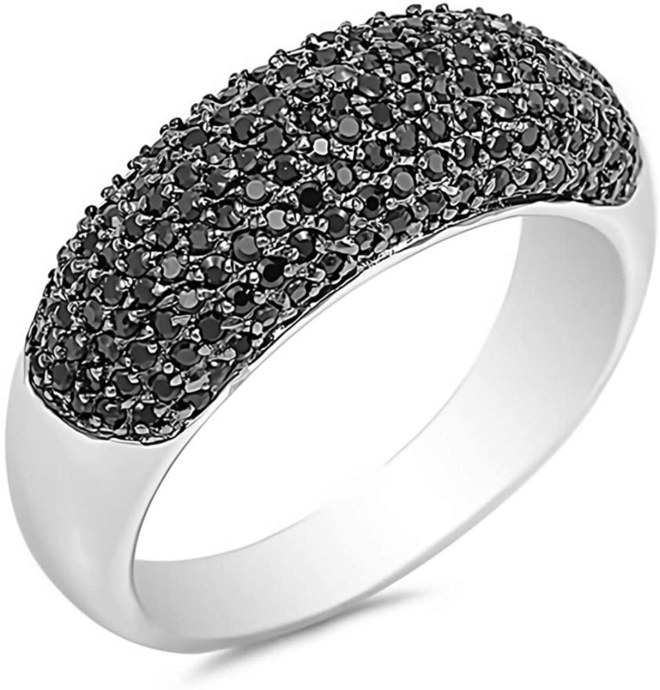 Glitzs Jewels 925 Sterling Silver CZ Ring (Black) | Cubic Zirconia Jewelry Gift