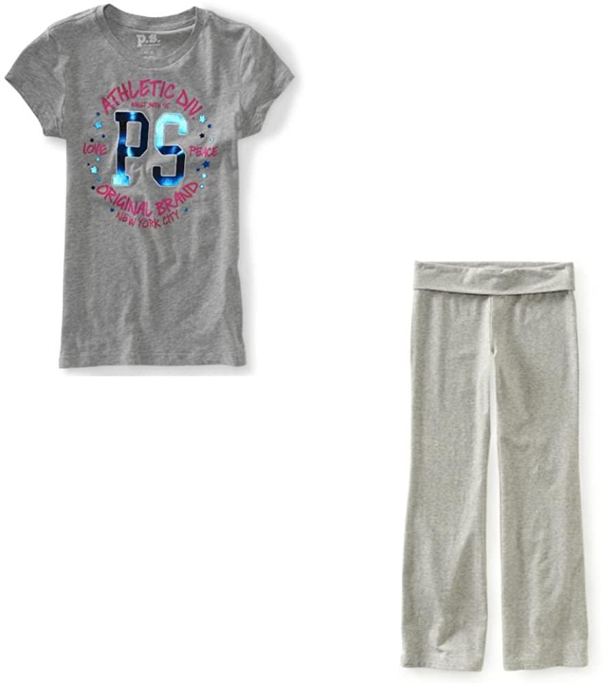 Aeropostale - Girls (4) P.S. Kids Graphic T-Shirt and Yoga Pants Clothing Set Grey