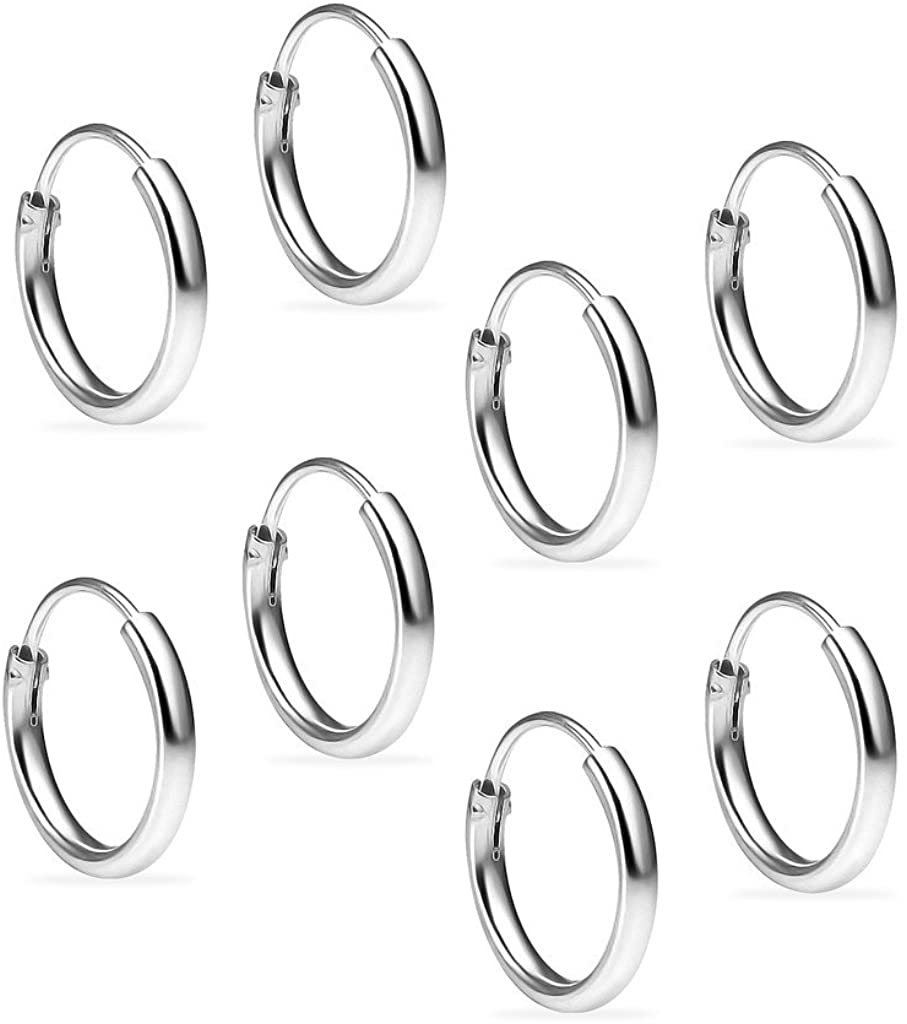 Sterling Silver 10mm Small Round Unisex Thin Endless Hoop Earrings, Set of 4 Pairs