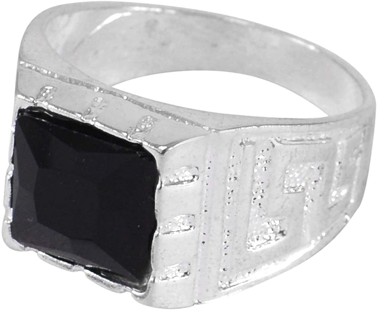 Jaipur Rajasthan India Square Shape 11x11mm, Black Onyx, 925 Sterling Silver Plated, Simple Ring Handmade Jewelry Manufacturer