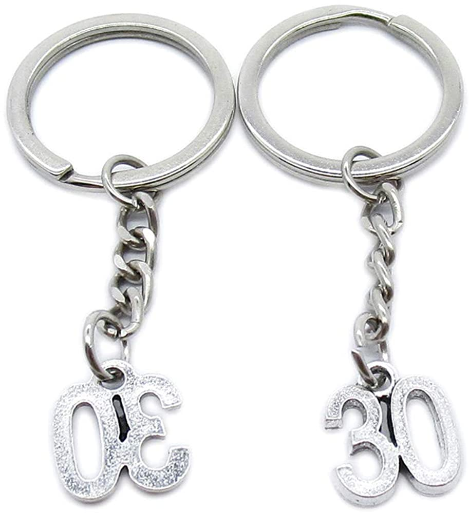Antique Silver Plated Keyrings Keychains TE7B1 Number Numeral 30 Tag Key Ring Chains Tags Clasps