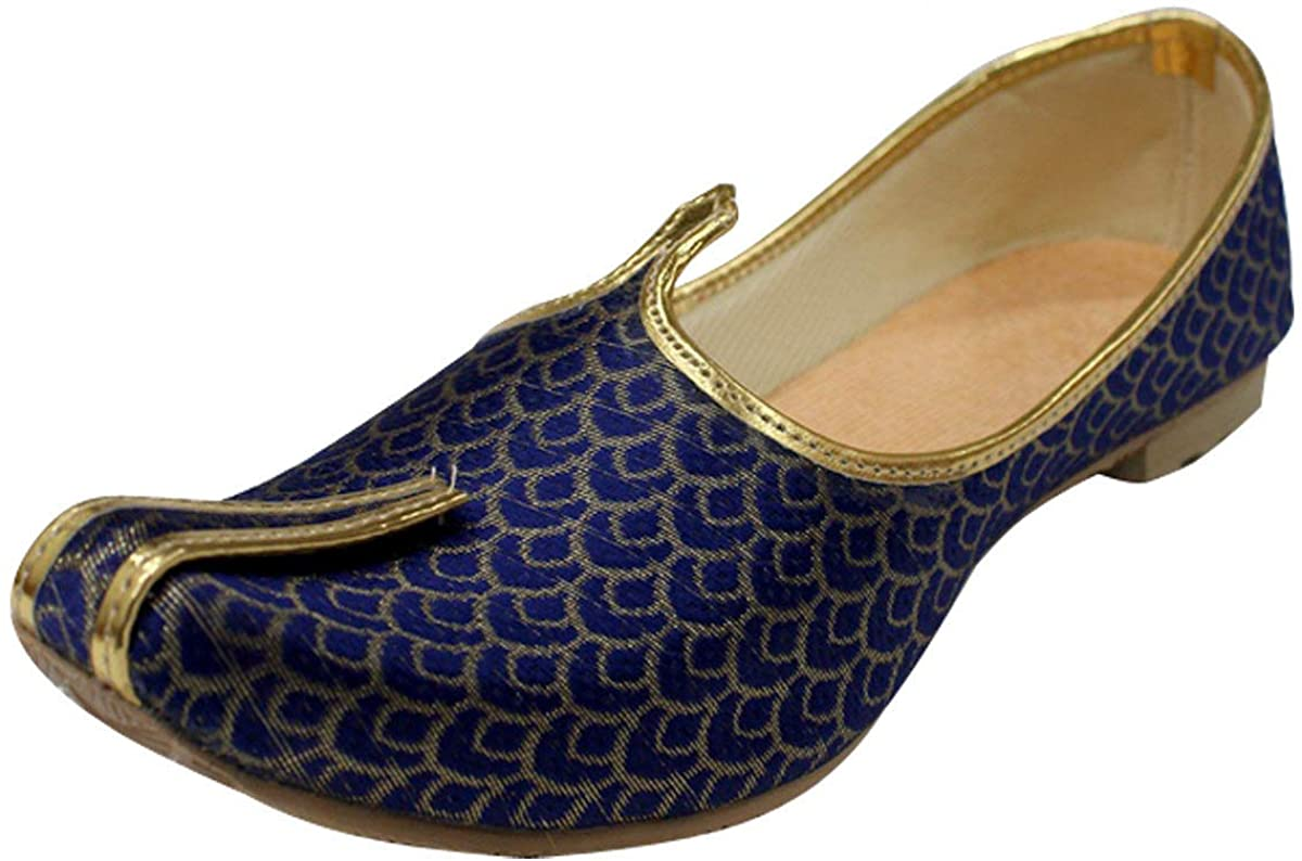 StopnStyleMojari for Indian Mens Tradition Ethnic Jutti and Sherwani Matching Shoes for Wedding Blue