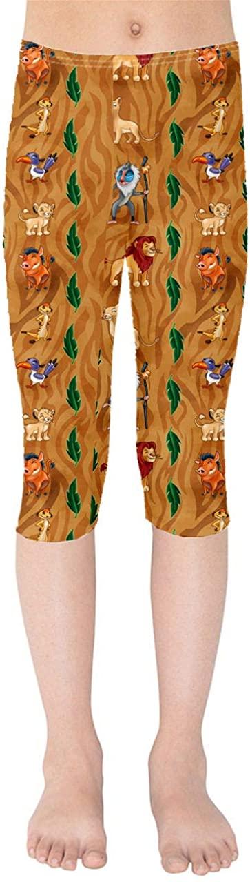 Youth Capri Leggings - Leaves Lion King Disney Inspired Brown