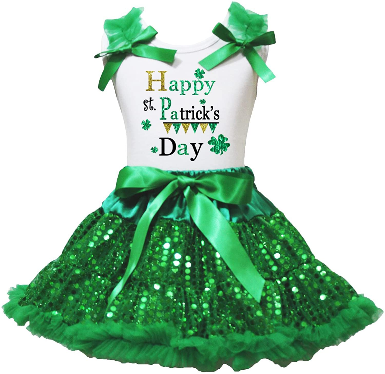 Petitebella St Patrick's Day White Shirt Green Sequins Ribbon Skirt Set 1-8y