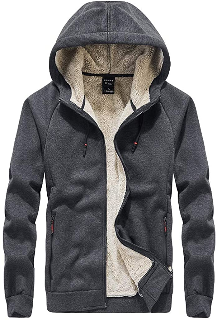 Fxbar Men's Autumn Winter Large Size Hoodie Coat Velvet Zipper Thickened Fleece Outwear Coat Warm Jacket