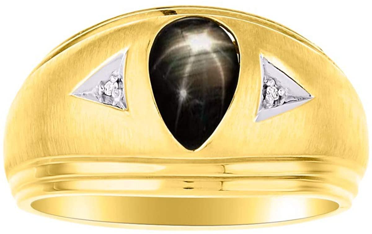 RYLOS Simply Elegant Beautiful Black Star Sapphire & Diamond Ring - Exotic Birthstone