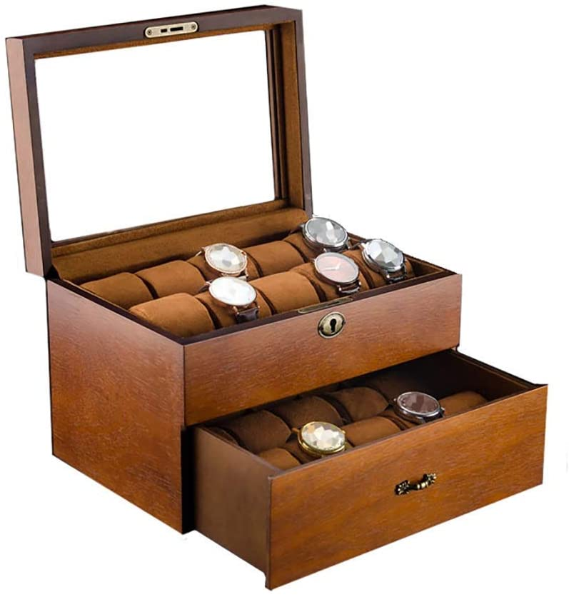 Watch Box Mens Watches Organizer Double Layers Jewelry Display Case