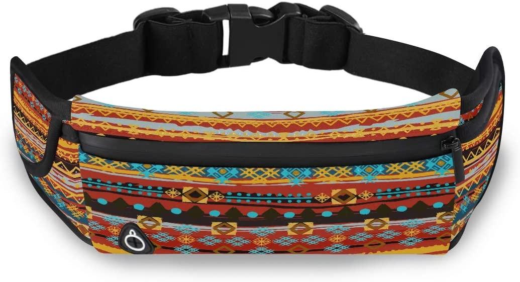 Ethnic Boho Seamless Pattern Tribal Art Fashion Waist Bag Waist Fanny Packs Designer Fashion Bag With Adjustable Strap For Workout Traveling Running