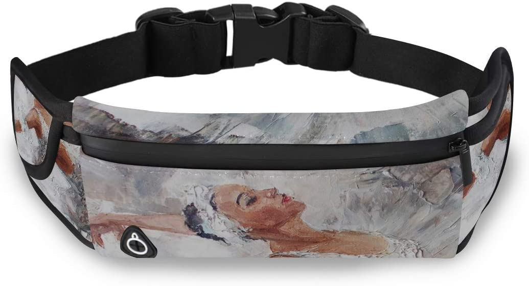 White Art Ballerina Female Oil Painting Womans Travel Bag Professional Waist Pack Fashion Design Bag With Adjustable Strap For Workout Traveling Running