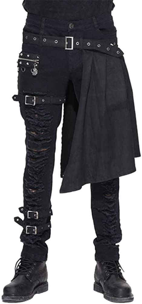 PUNK Fashion Pants for Mens Trousers Pants Removable Stage Gothic Pencil Cotton Goth Clothing