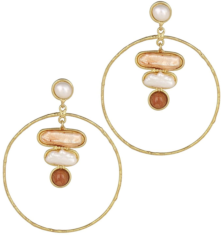 ZerokaataFashion Jewellery Red adventurine, Pink and White Bead Semi Precious Handmade Jewellery Earrings For Women & Girls