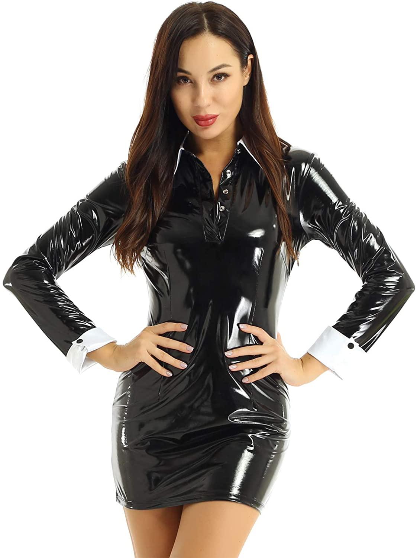TiaoBug Women PVC Leather Wetlook Halloween Fancy Dress Long Sleeves White Collar Bodycon Mini Dress
