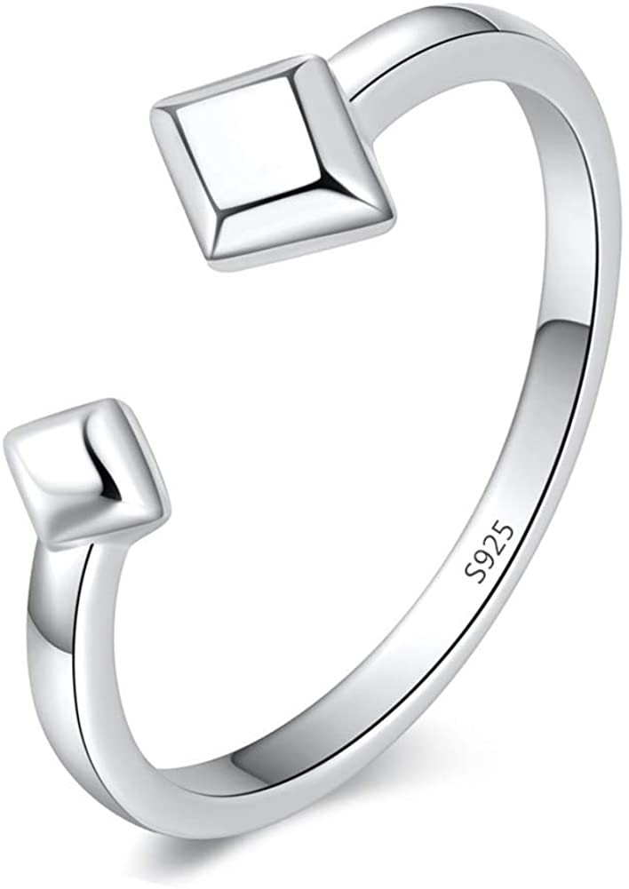 QTRESOR 925 Sterling Silver Open Rings Symbol World Peace Sign Signet Hearts Eternity Band Ring Double Triangle Geometric for Women for Teen Size 5-9 Adjustable