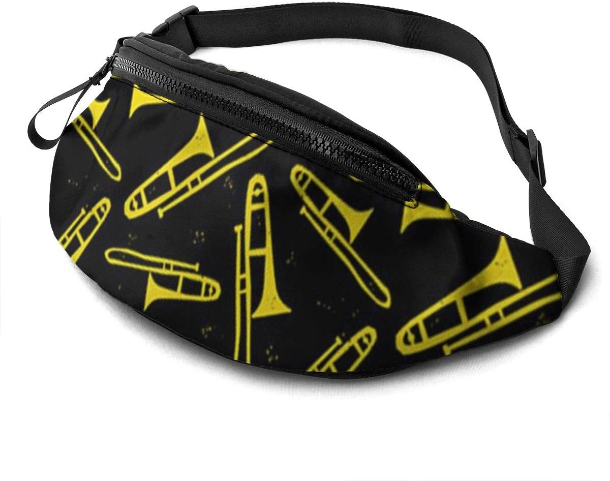 Black and Yellow Trombone Fanny Pack for Men Women Waist Pack Bag with Headphone Jack and Zipper Pockets Adjustable Straps