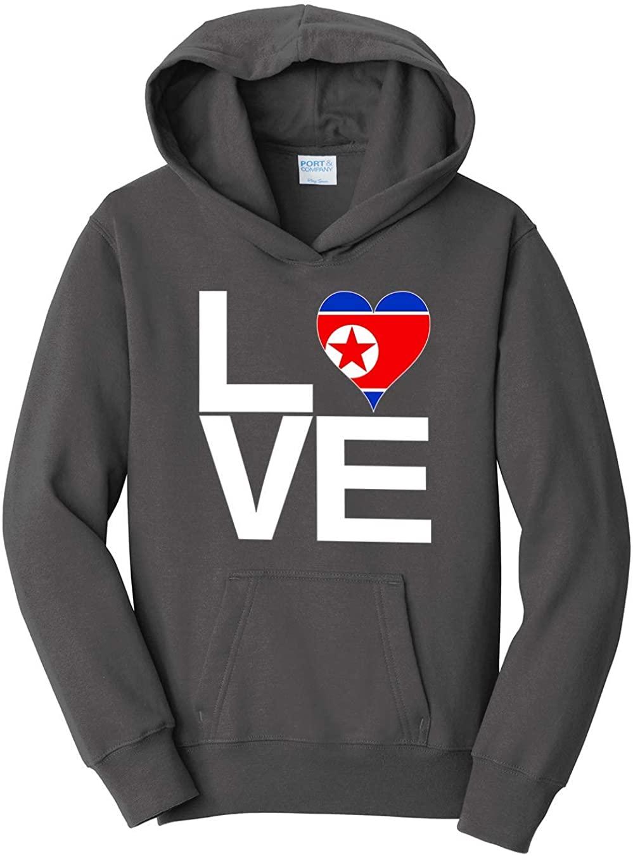 Tenacitee Boy's Youth Love Block North Korea Heart Hooded Sweatshirt