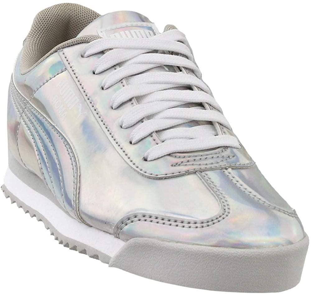 PUMA Kids Roma IR JR Sneaker (Big Kid),Silver/White,5.5