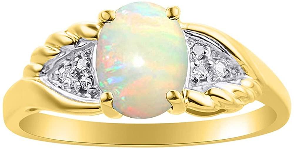 Diamond & Opal Ring Set In 14K Yellow Gold Diamond Wings Design