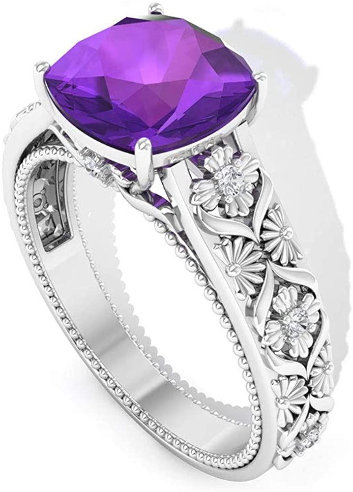 2 Ct Solitaire Amethyst Engagement Ring, Art Deco Bridal Wedding Ring, Cushion Cut Gemstone Ring, IGI Certified Diamond IJ-SI Statement Ring