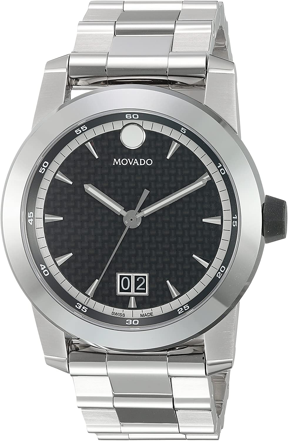 Movado Men's Swiss-Quartz Watch with Stainless-Steel Strap, Silver, 25 (Model: 0607050)