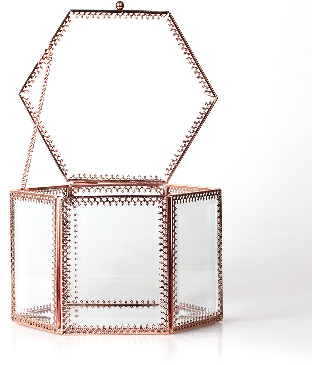 NCYP Vintage Faceted Hexagonal Prisms Mirrored Brass Glass Stylish Jewellery Box Organiser Display Storage Case for Rings Earrings Necklace Birthday Party Gift with Hinged Top Lid, Glass Box Only