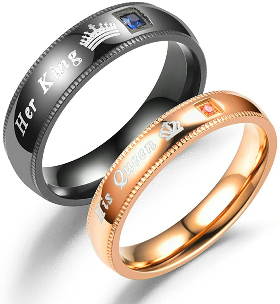 fashionlife2018 Her King His Queen Couple Rings Wedding Band Anniversary Engagement His and Her Promise Ring Titanium Steel Ring 6mm