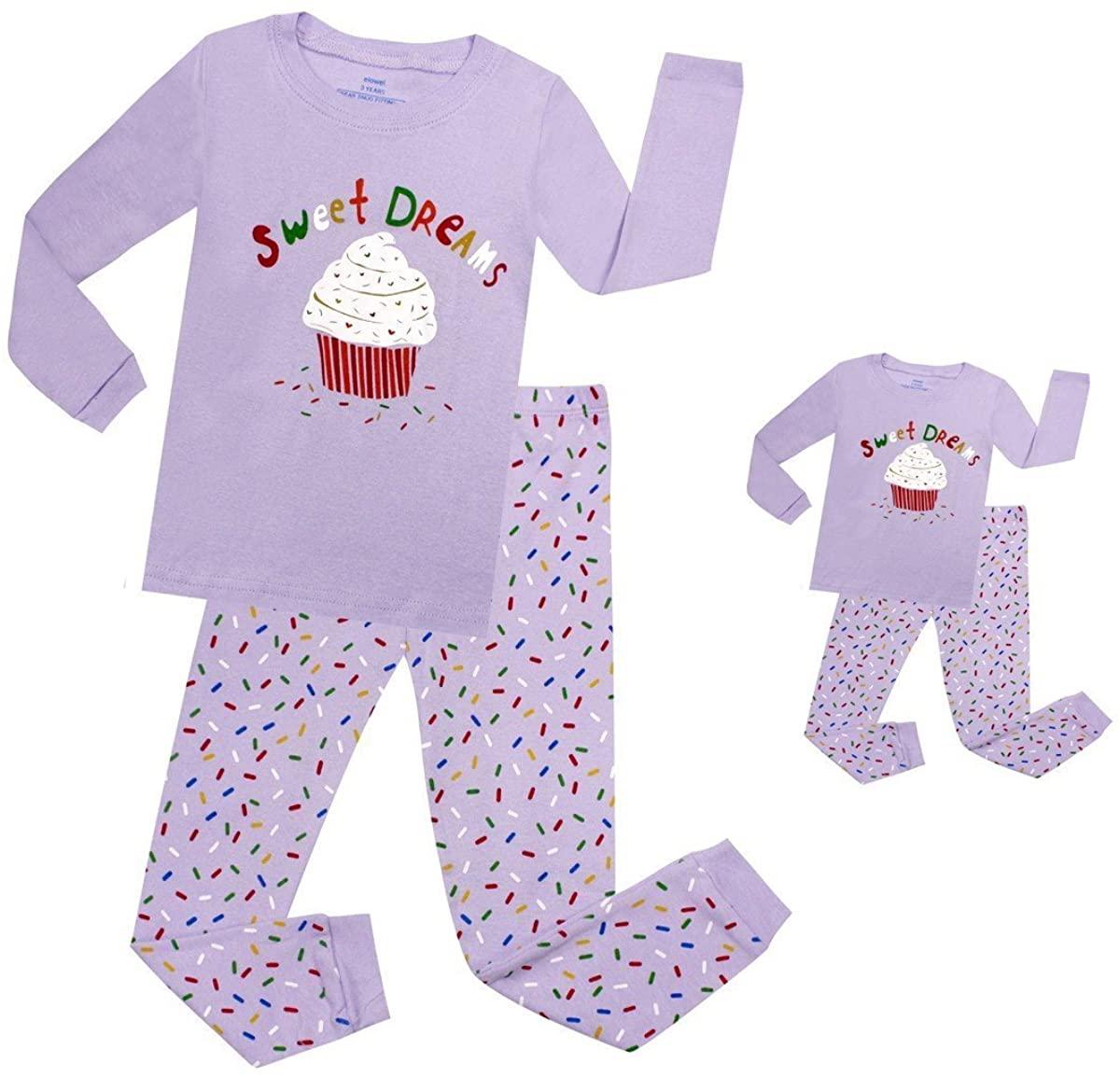 Elowel Cupcake Matching Girls & Doll 2 Piece Pajama Set 100% Cotton (Size 2-12 Years)