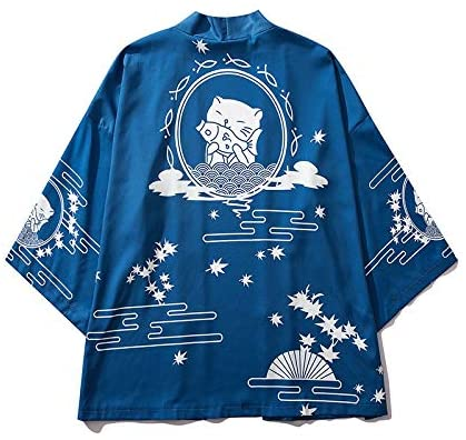 Sangcong Japanese Style Japan Style Cat Printed Thin Men Japanese Streetwear Blue Jackets Casual Outerwear 2020 (Color : Blue, Size : M)