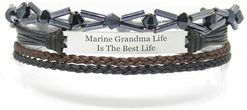 Miiras Family Engraved Handmade Bracelet - Marine Grandma Life is The Best Life - Black 8 - Made of Braided Rope and Stainless Steel - Gift for Marine Grandma