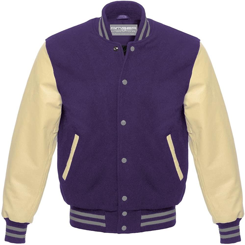 Varsity Letterman Baseball School College University Genuine Leather & Wool Cream/Navy Gray Strips