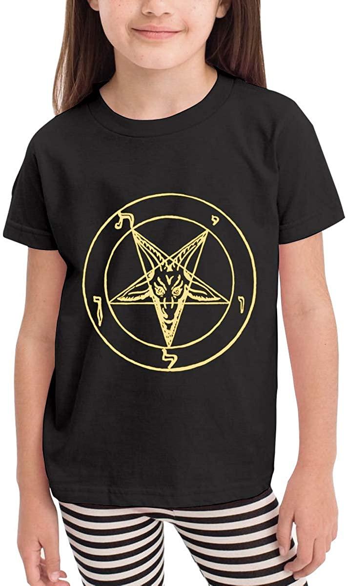 Children's T-Shirt Inverted Pentacle Pewter Satanic Goat Kids Short-Sleeved Shirt