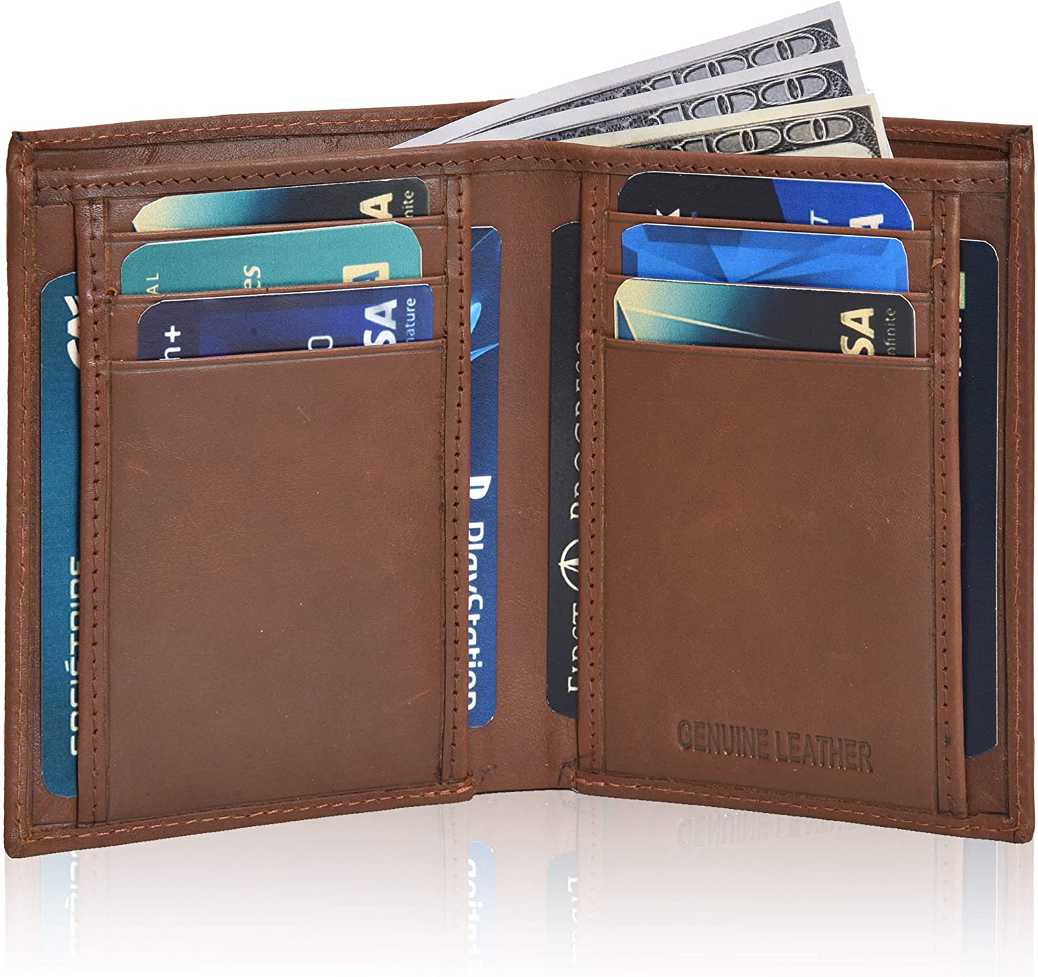 Bifold Leather Wallets For Men Slim - Mens Wallet Billfold With ID Window RFID Blocking Box Holiday Gifts For Men